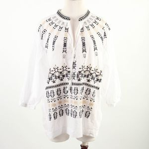 J. CREW – Embroidered Boho Blouse Top – M